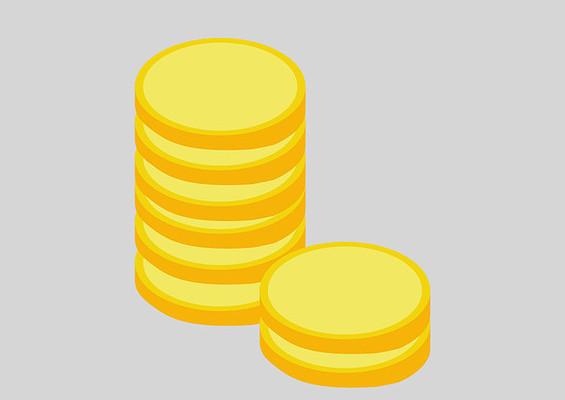 原创手绘扁平堆积的金币钱币插画
