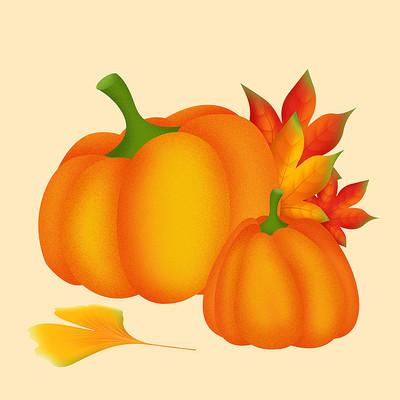 原创手绘可爱秋季南瓜