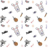 原创手绘可爱兔子底纹