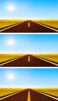 4K行驶在沙漠公路上奔驰向远方穿越沙漠视频素材