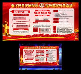 红色大气安全生产主题宣传展板