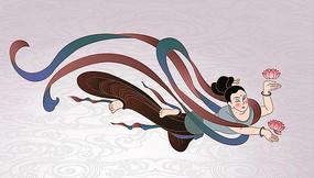 跳舞的敦煌飞天仙女插画