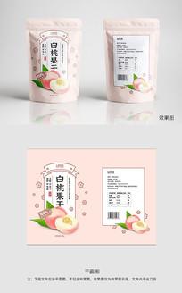 粉色白桃干零食包装