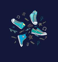 矢量滑板鞋休闲鞋手绘元素设计
