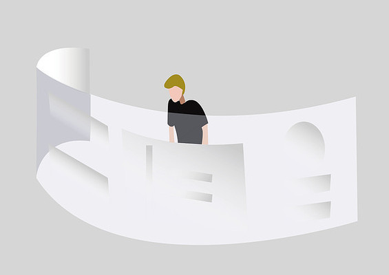 手绘人物扁平科技男士观看虚拟大屏幕插画