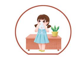 手绘人物卡通小女孩打喷嚏捂口鼻的防疫图标