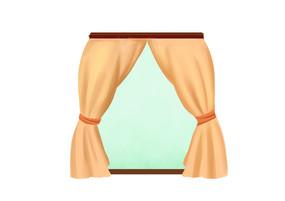 原创手绘卡通舞台帷幕窗帘插画
