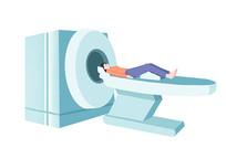 原创手绘卡通医疗做CT的女人插画
