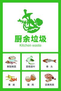 原创手绘垃圾分类厨余垃圾贴纸图标海报