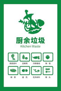 原创手绘垃圾分类厨余垃圾图标贴纸海报