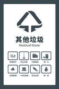 原创手绘垃圾分类其他垃圾图标贴纸海报