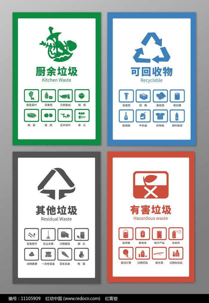 原创手绘垃圾分类知识贴纸图标海报图片