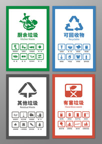 原创手绘垃圾分类知识贴纸图标海报