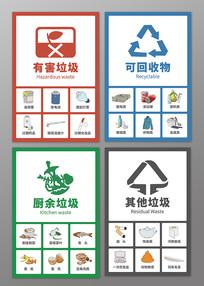 原创手绘垃圾分类知识图标贴纸海报