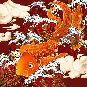 原创浮世绘浪花金鱼