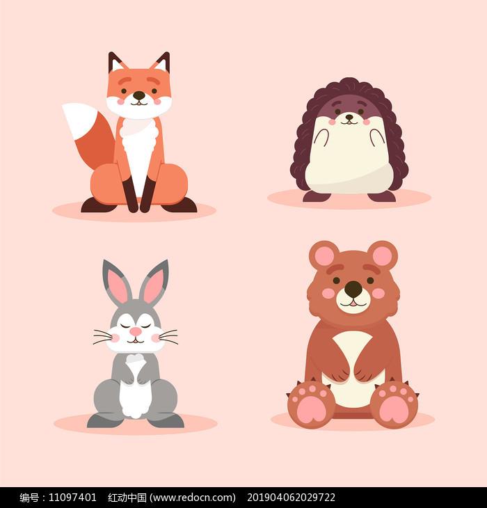 原创可爱卡通动物插画