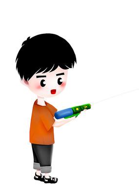原创可爱卡通玩水枪男孩