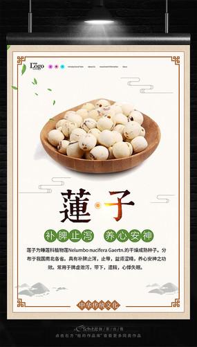 中国风中药文化莲子海报