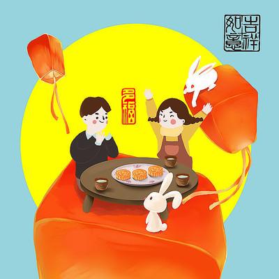 中秋节日手绘插画
