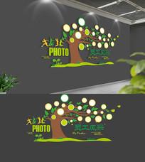 卡通校园照片树文化墙
