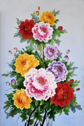 纯手绘牡丹花开富贵油画无框画