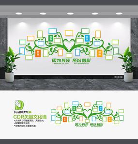 绿色校园文化墙照片墙