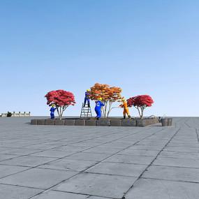 各种种植红枫3D模型