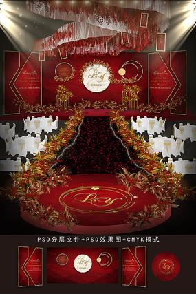 红金色婚礼背景效果图