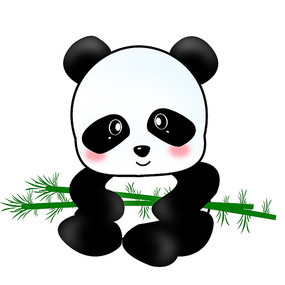 可愛卡通大熊貓吃竹子插畫元素