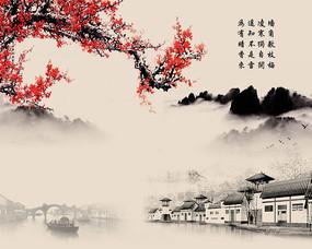 新中式山水背景墙