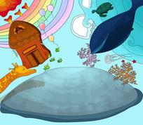 原创儿童卡通插画鲸鱼彩虹趣味手绘无框画
