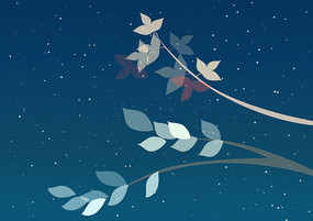 原创手绘植物小清新半透明树枝树叶插画