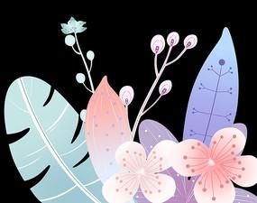 原創手繪植物小清新花卉花瓣花草插畫