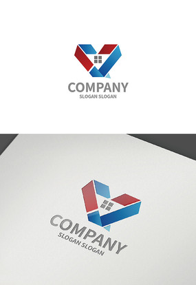 建筑爱心logo设计