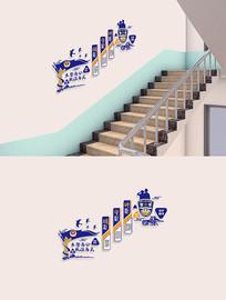 蓝色警营文化墙楼梯走廊文化墙