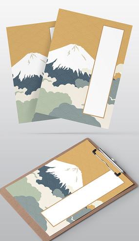日本浮世绘风格信纸模板