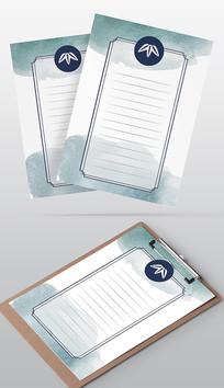 日式简约水墨风信纸模板