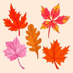 原创矢量手绘树叶元素