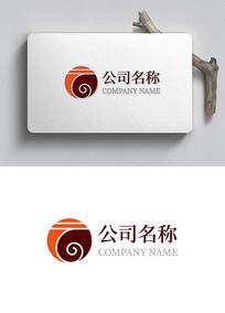 中国风云字贸易企业logo设计