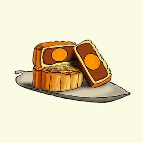 中秋节月饼插画装饰元素