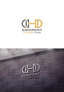 字母D哑铃logo设计