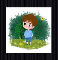 卡通可爱男孩插画