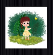 卡通可爱女孩插画