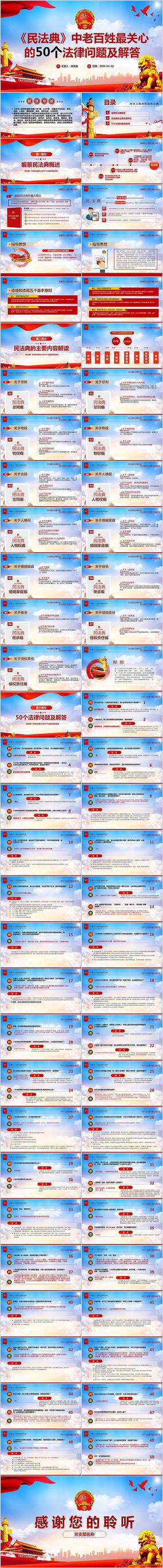 民法典亮点解读党政党委党组团委党课PPT模板