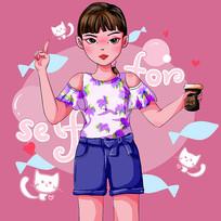 喝咖啡的女孩
