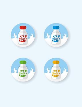 矢量扁平圖標milk牛奶瓶彩色奶�;y
