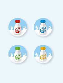 矢量扁平图标milk牛奶瓶彩色奶牛花纹
