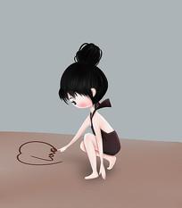 原创可爱卡通沙滩泳装love比基尼女孩