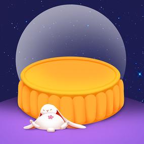 原创手绘可爱月饼玉兔
