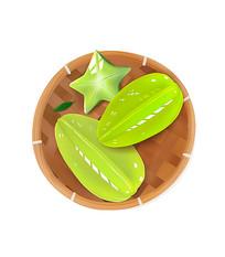 原创手绘绿色杨桃水果